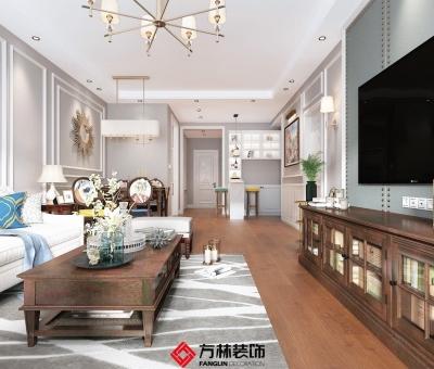 凌河湾·御景苑-110平米美式风格效果图-朝阳装修公司